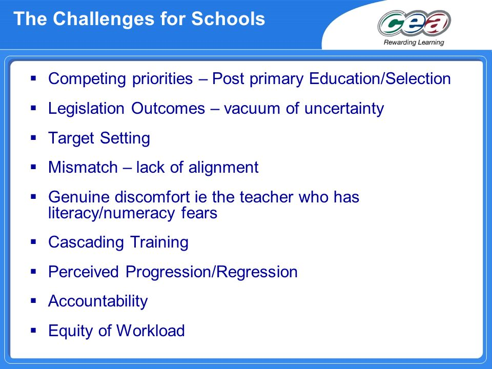 The Challenges for Schools