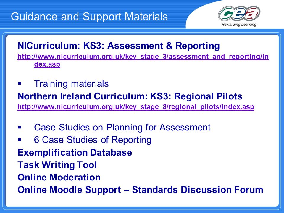 Guidance and Support Materials