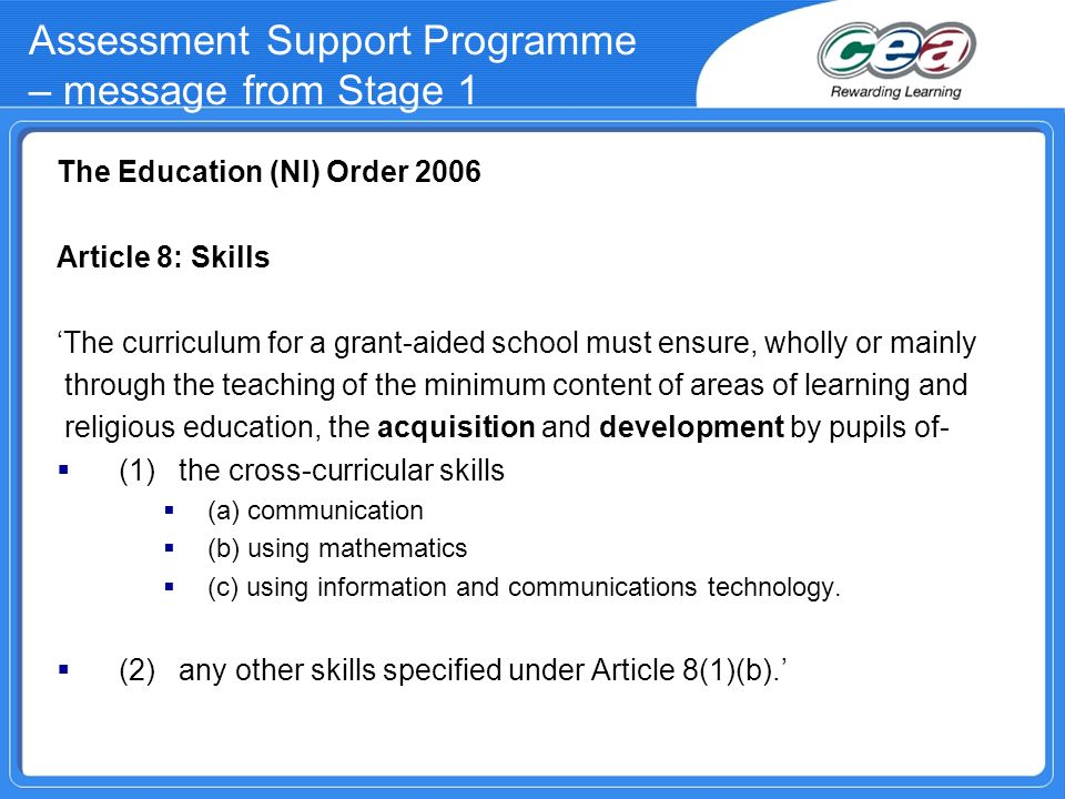 Assessment Support Programme – message from Stage 1