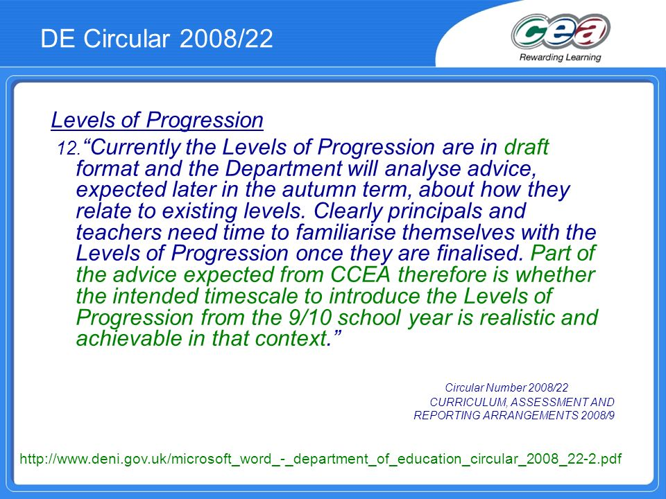 DE Circular 2008/22 Levels of Progression