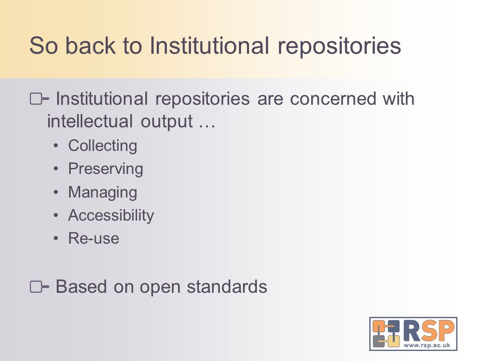 So back to Institutional repositories