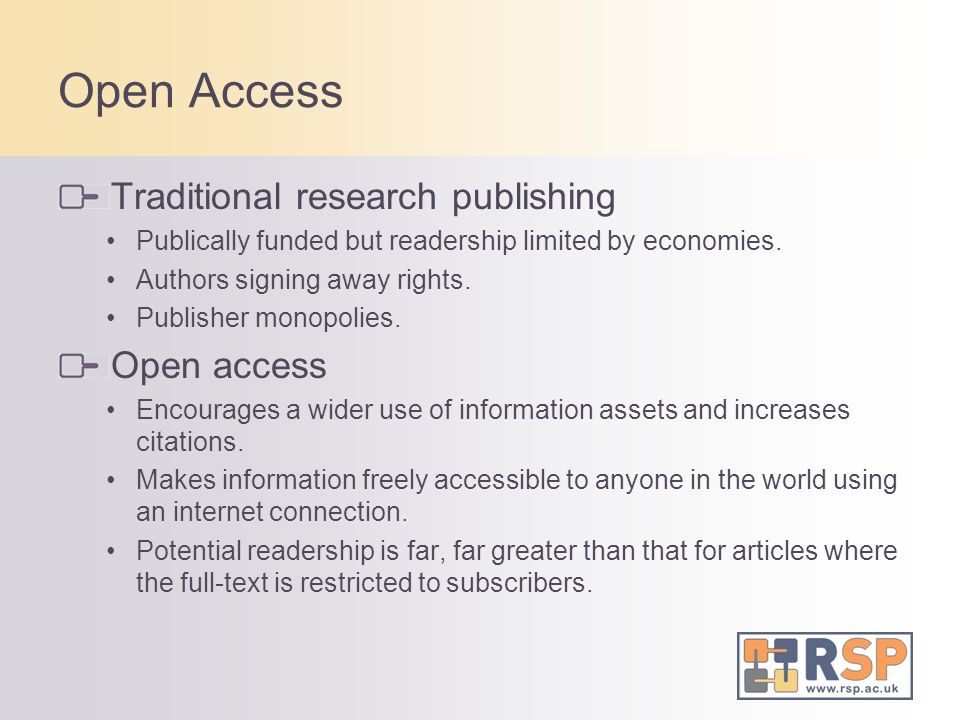 Open Access Traditional research publishing Open access