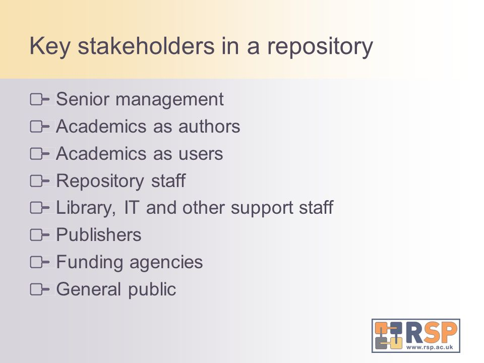 Key stakeholders in a repository