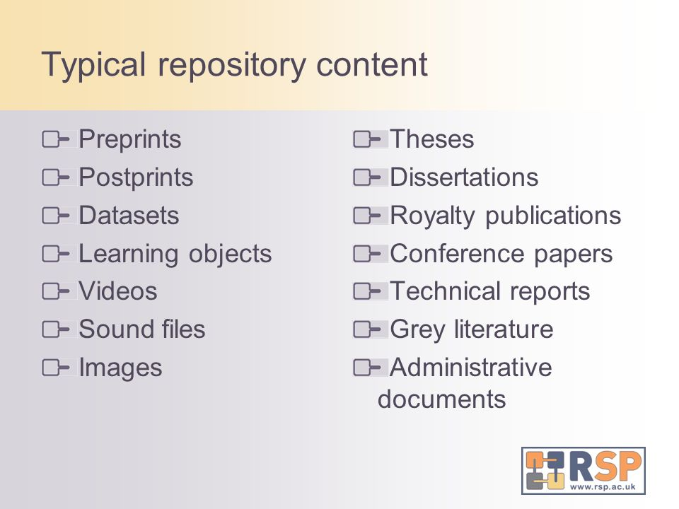 Typical repository content