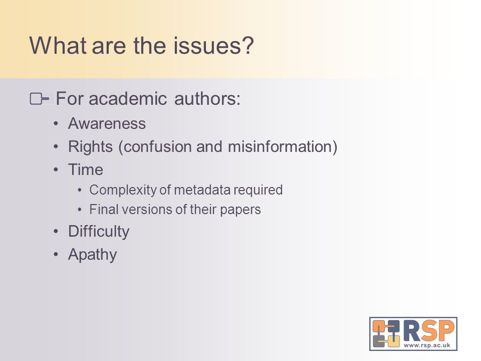 What are the issues For academic authors: Awareness