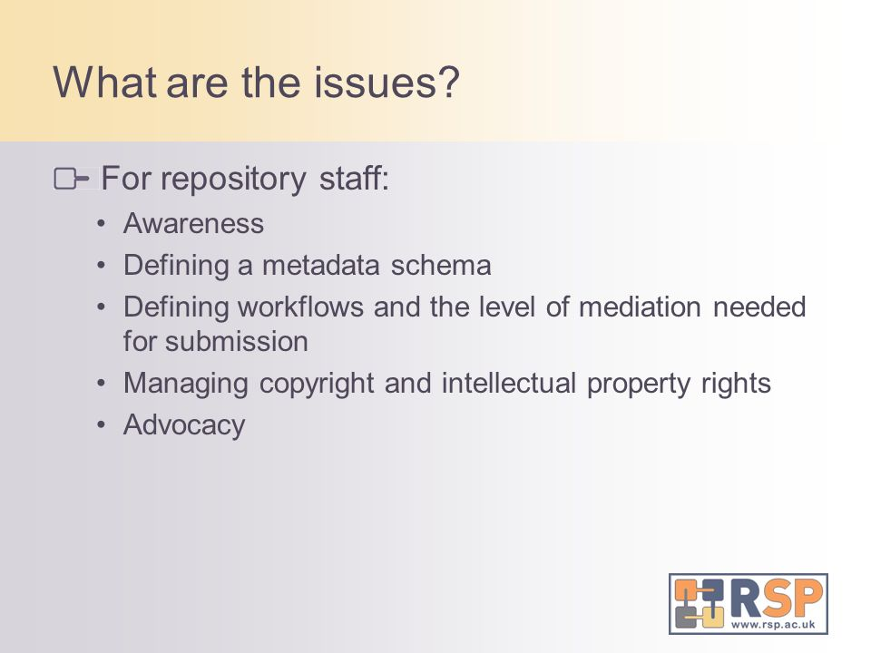 What are the issues For repository staff: Awareness