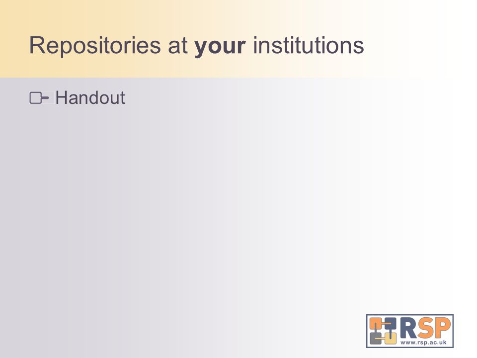 Repositories at your institutions