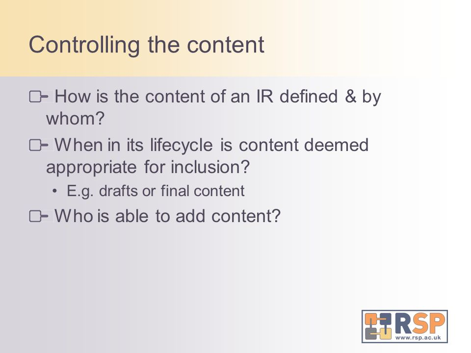 Controlling the content