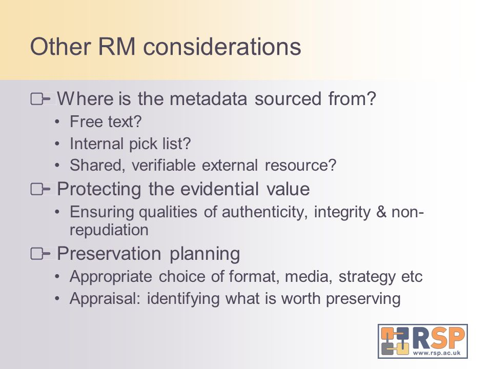 Other RM considerations