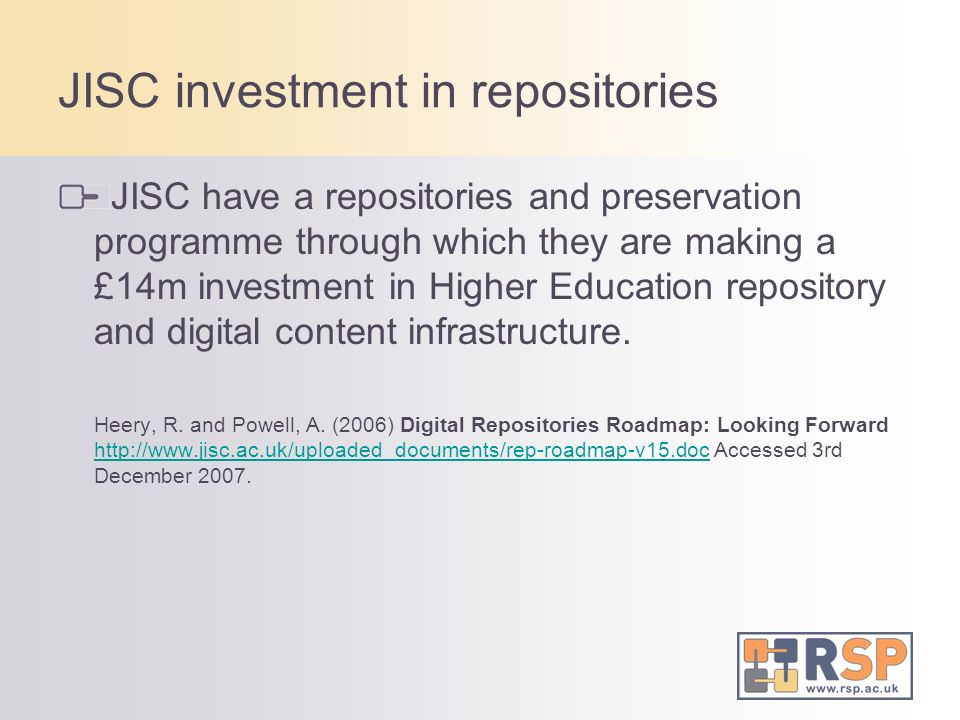 JISC investment in repositories