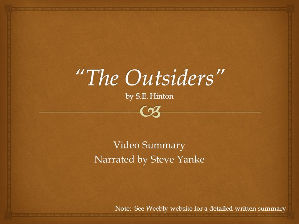 essay for the outsiders book