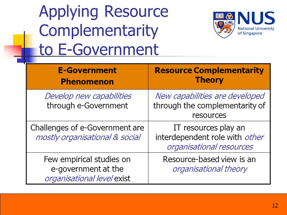 Applying Resource Complementarity to E-Government