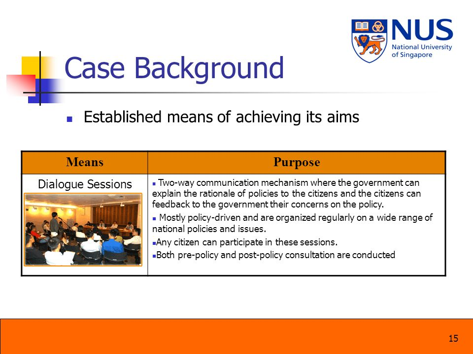 Case Background Established means of achieving its aims Means Purpose