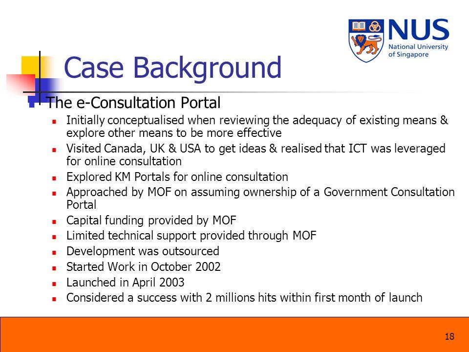 Case Background The e-Consultation Portal