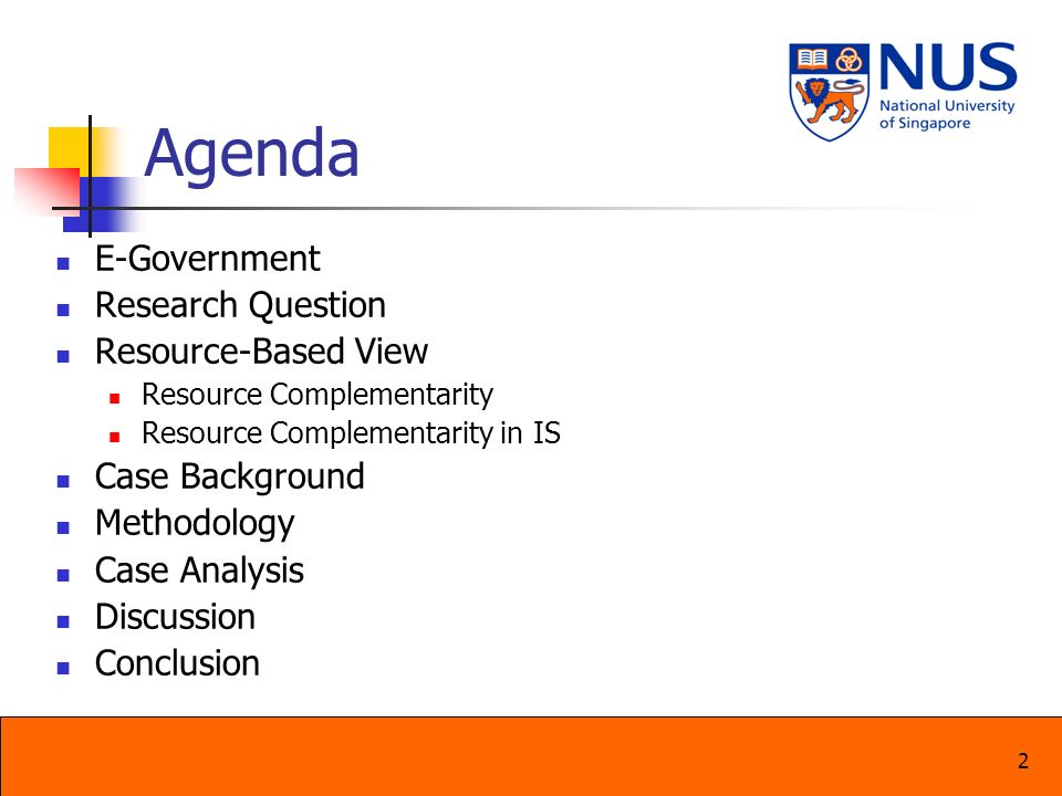 Agenda E-Government Research Question Resource-Based View
