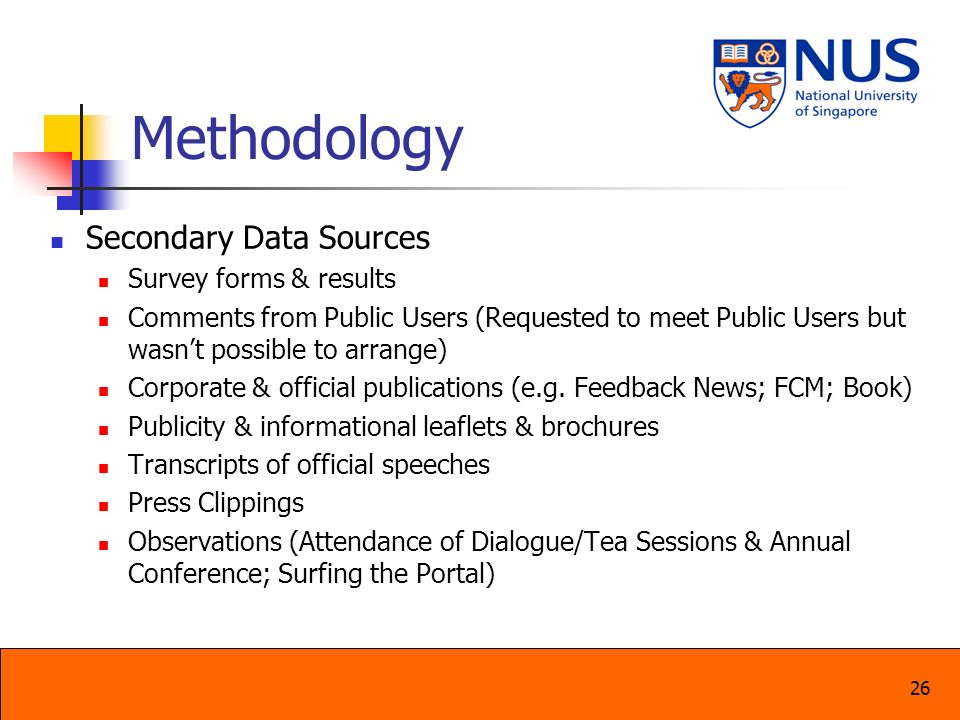 Methodology Secondary Data Sources Survey forms & results