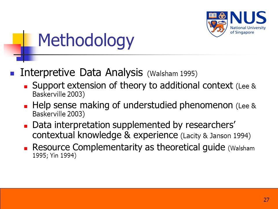 Methodology Interpretive Data Analysis (Walsham 1995)