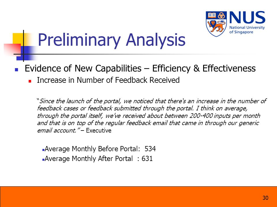 Preliminary Analysis Evidence of New Capabilities – Efficiency & Effectiveness. Increase in Number of Feedback Received.