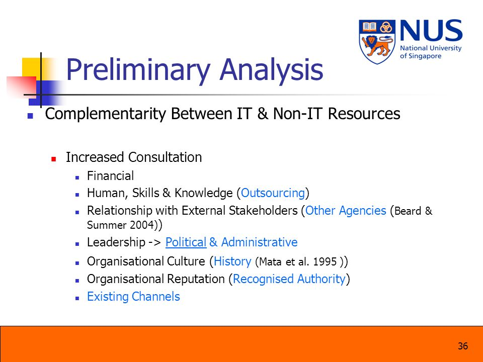 Preliminary Analysis Complementarity Between IT & Non-IT Resources