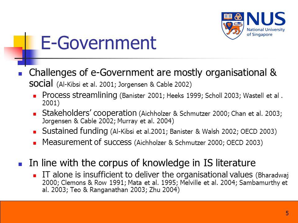 E-Government Challenges of e-Government are mostly organisational & social (Al-Kibsi et al. 2001; Jorgensen & Cable 2002)