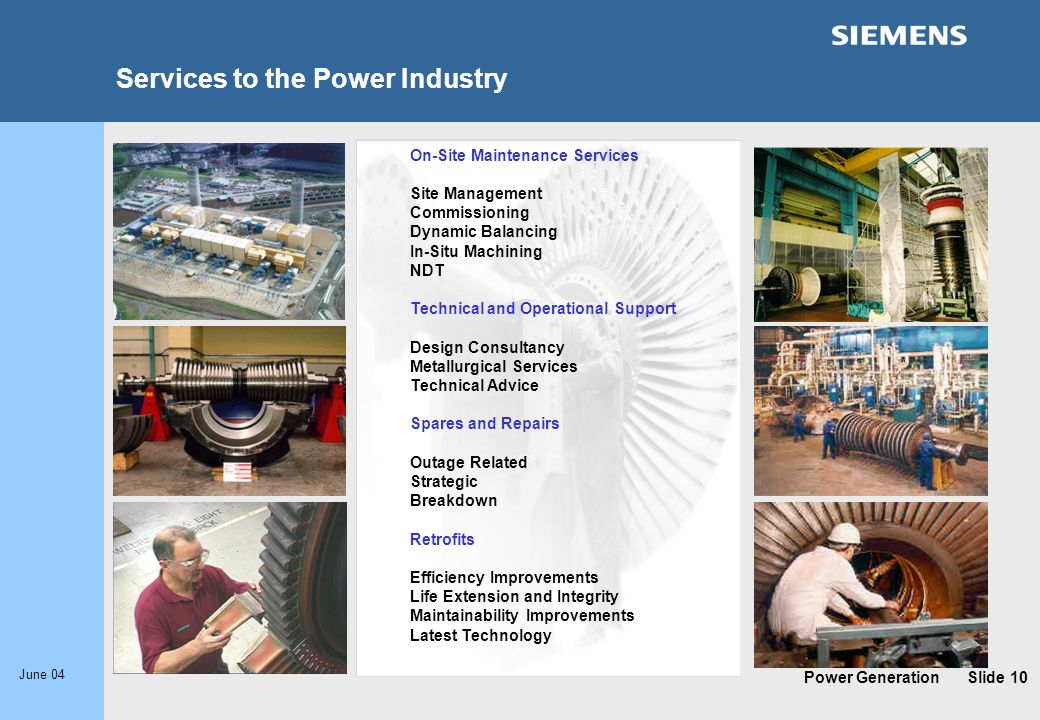 Services to the Power Industry