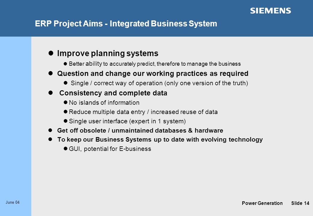 ERP Project Aims - Integrated Business System