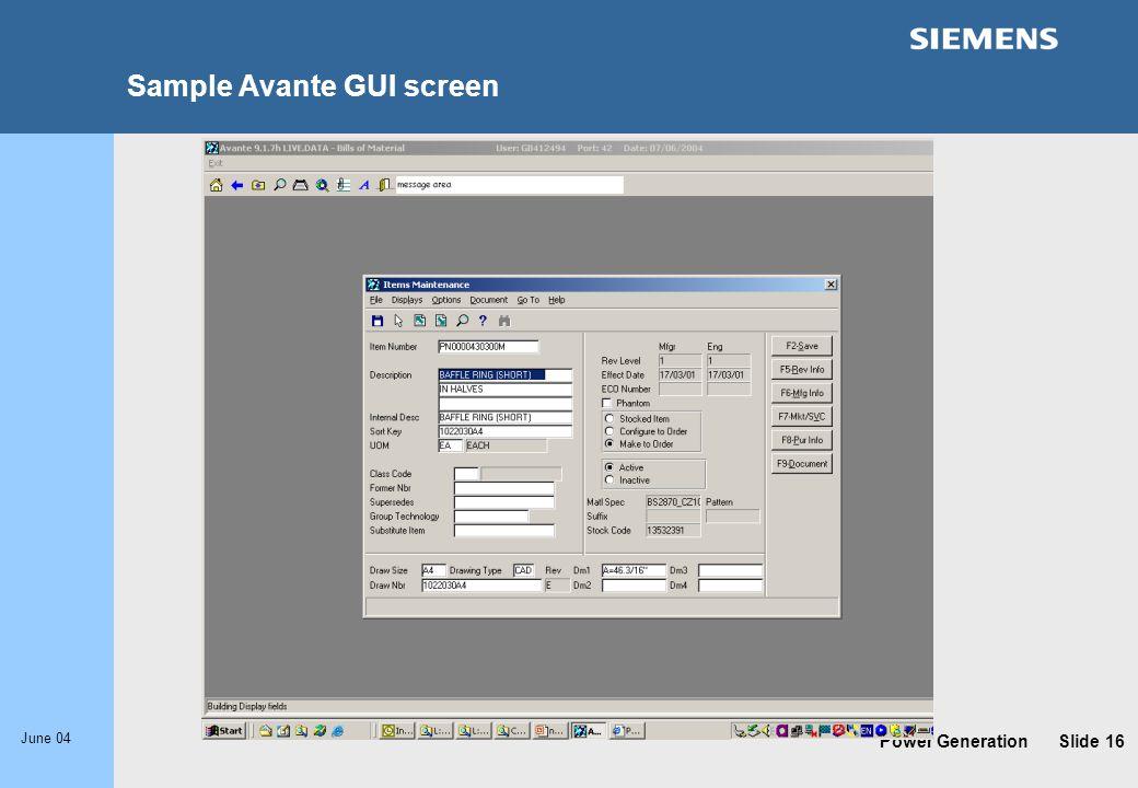 Sample Avante GUI screen