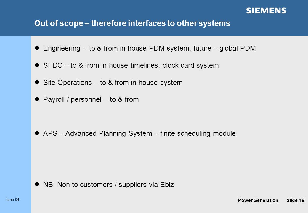 Out of scope – therefore interfaces to other systems