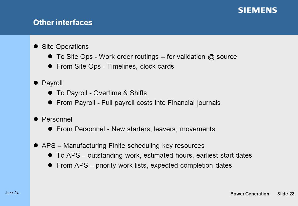 Other interfaces Site Operations