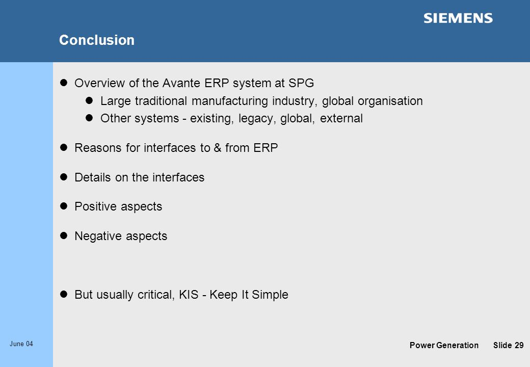 Conclusion Overview of the Avante ERP system at SPG