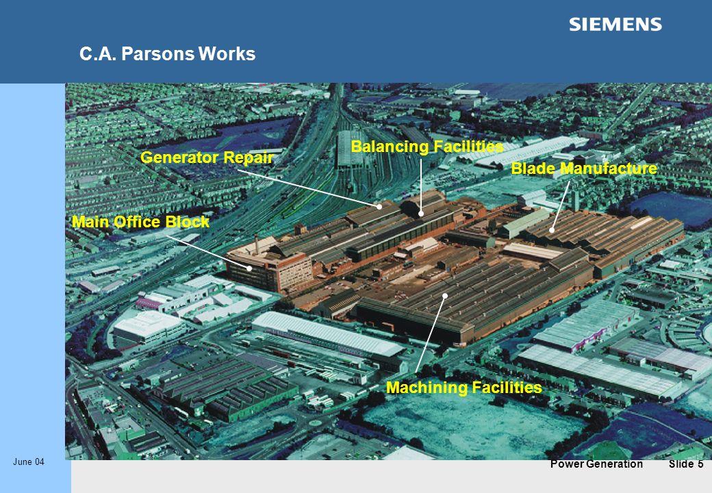 C.A. Parsons Works Balancing Facilities Generator Repair
