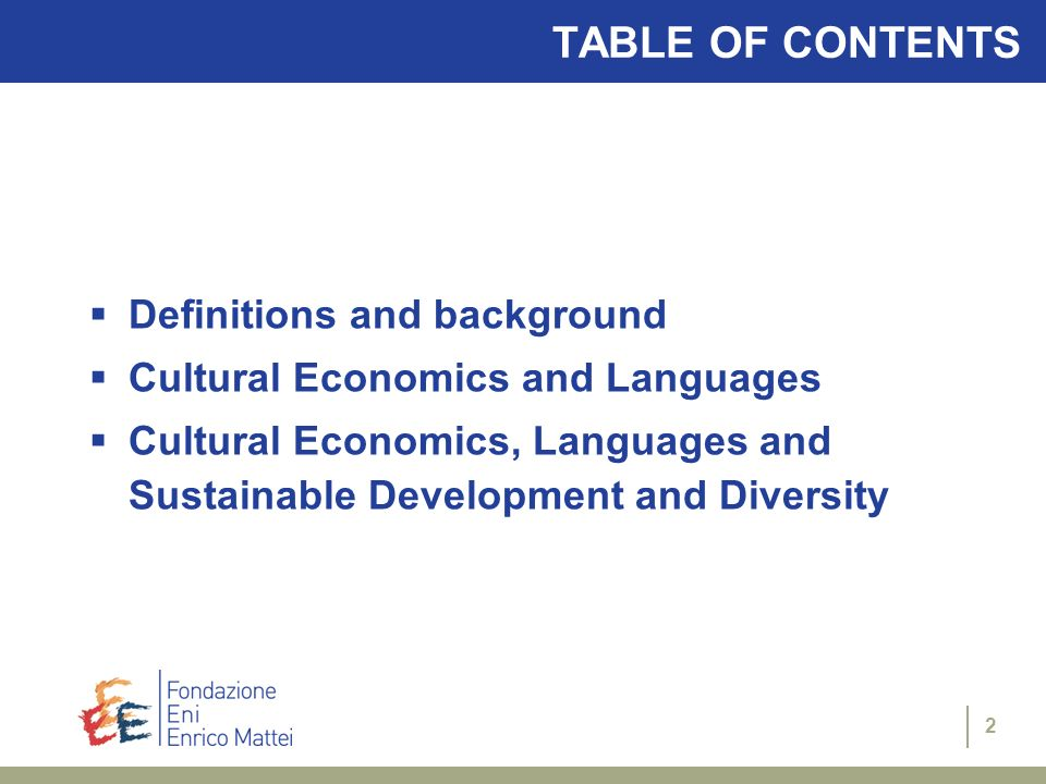TABLE OF CONTENTS Definitions and background