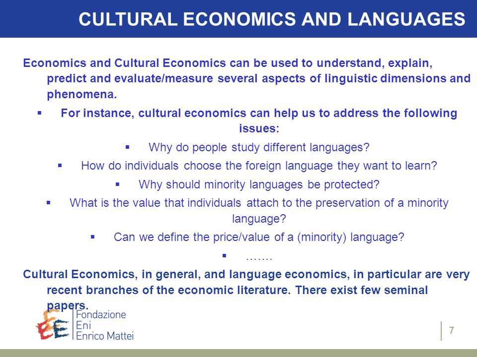 CULTURAL ECONOMICS AND LANGUAGES