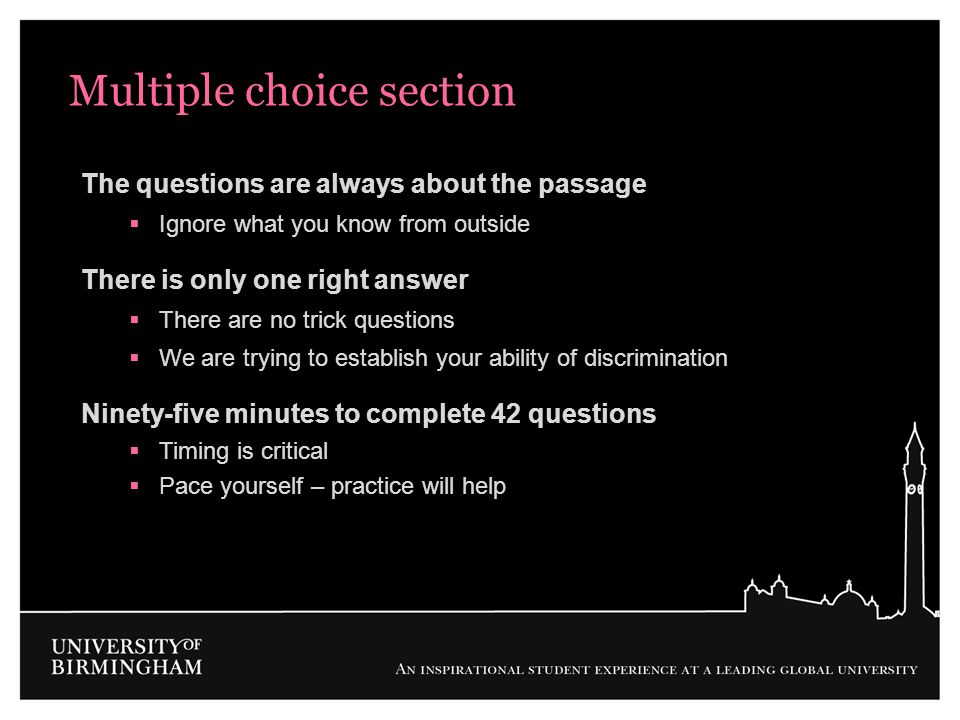 Multiple choice section