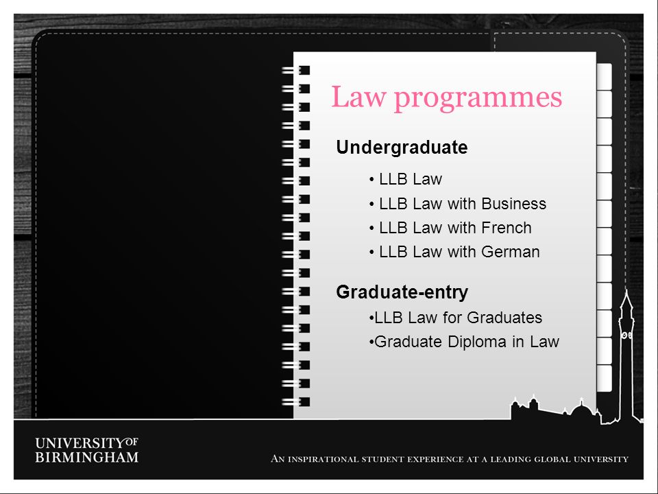 Law programmes Undergraduate Graduate-entry LLB Law