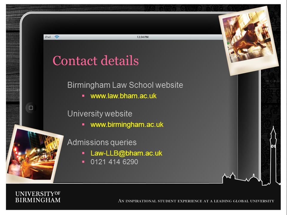 Contact details Birmingham Law School website University website