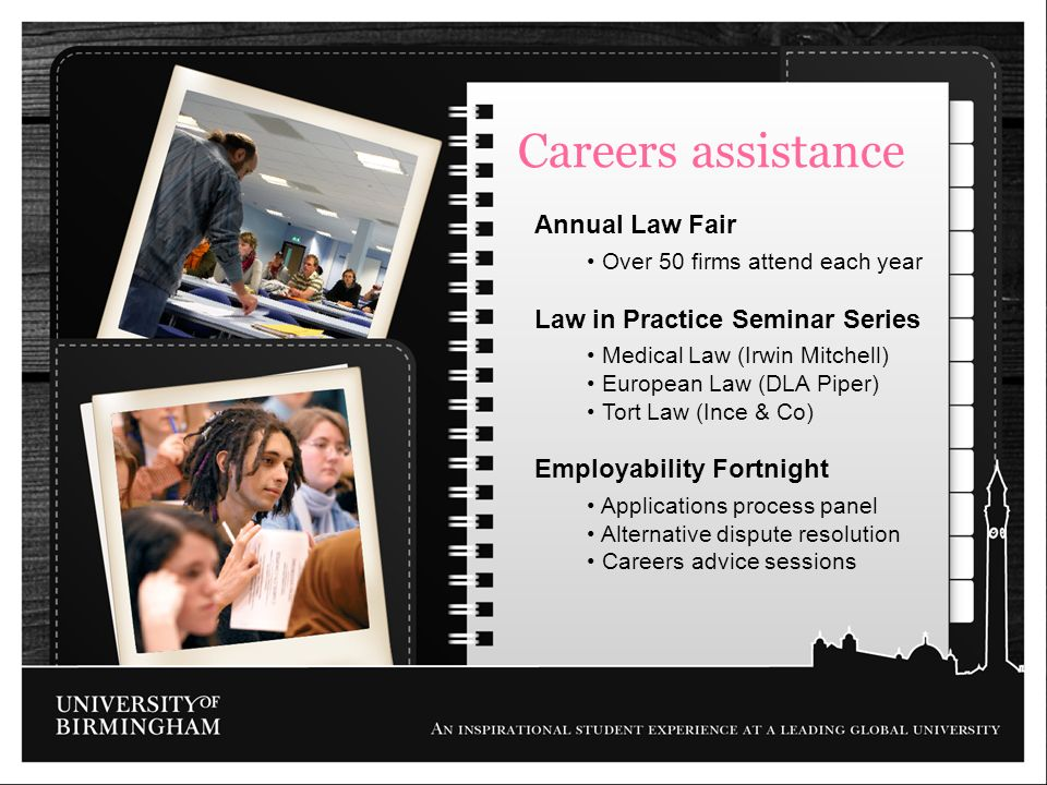 Careers assistance Annual Law Fair Law in Practice Seminar Series