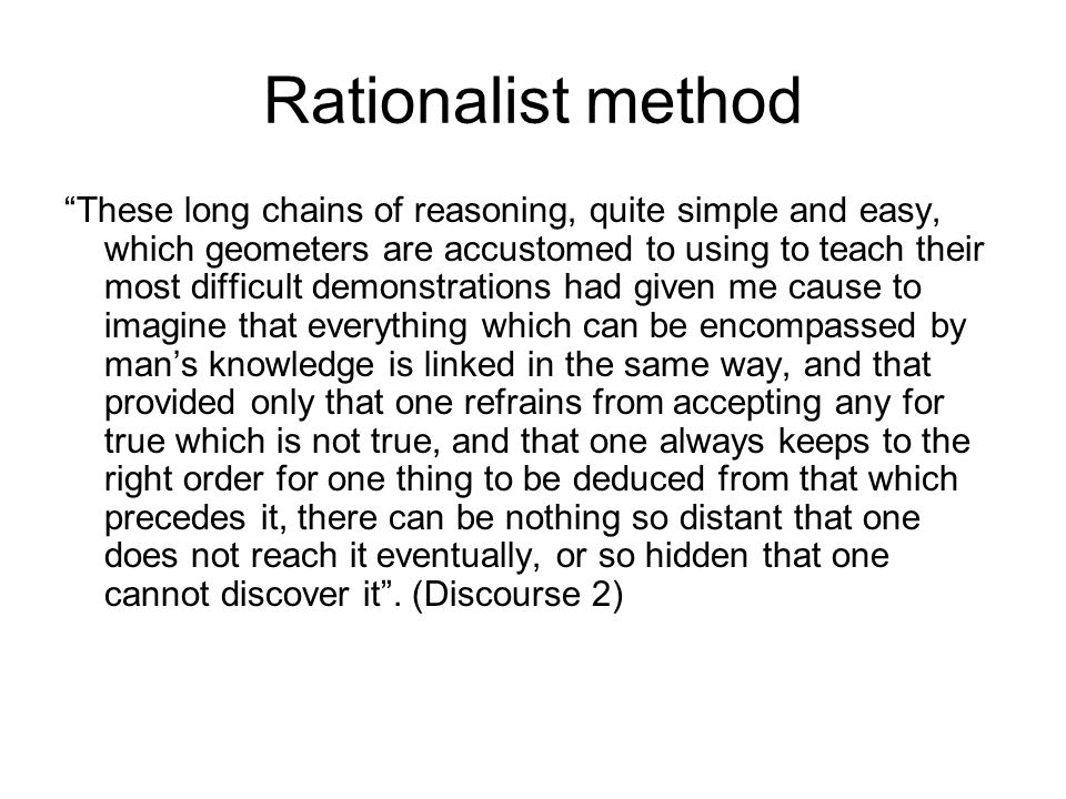 Rationalist method