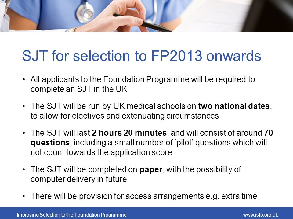 SJT for selection to FP2013 onwards