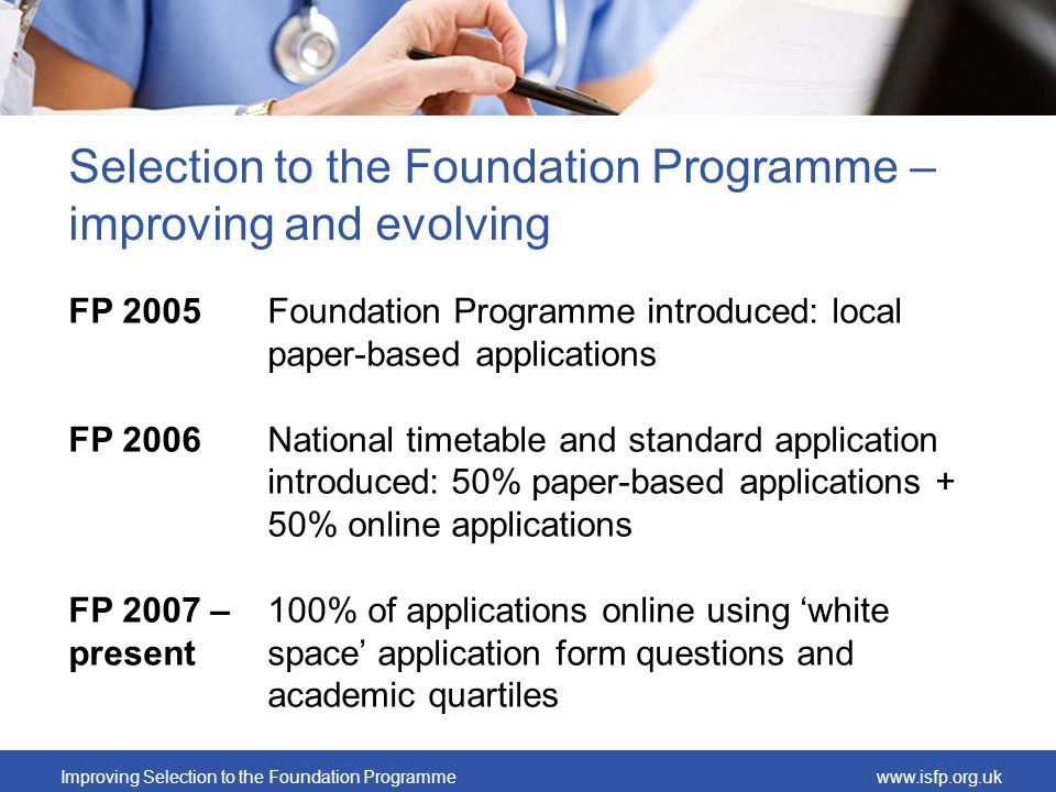 Selection to the Foundation Programme – improving and evolving
