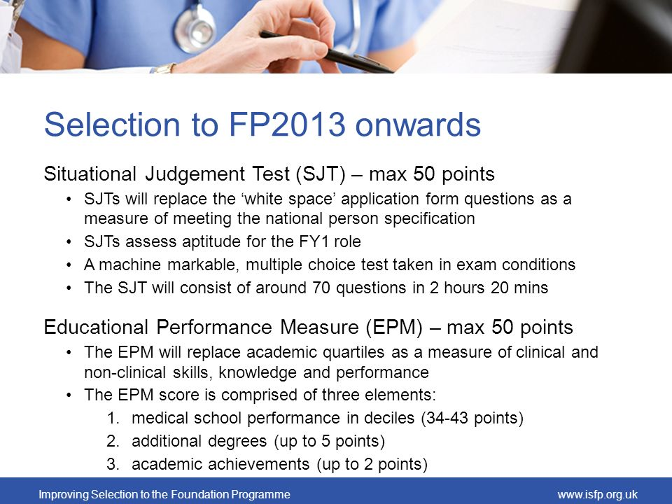 Selection to FP2013 onwards
