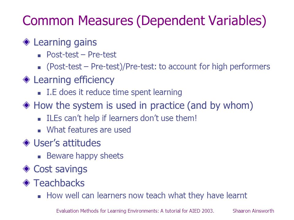 Common Measures (Dependent Variables)
