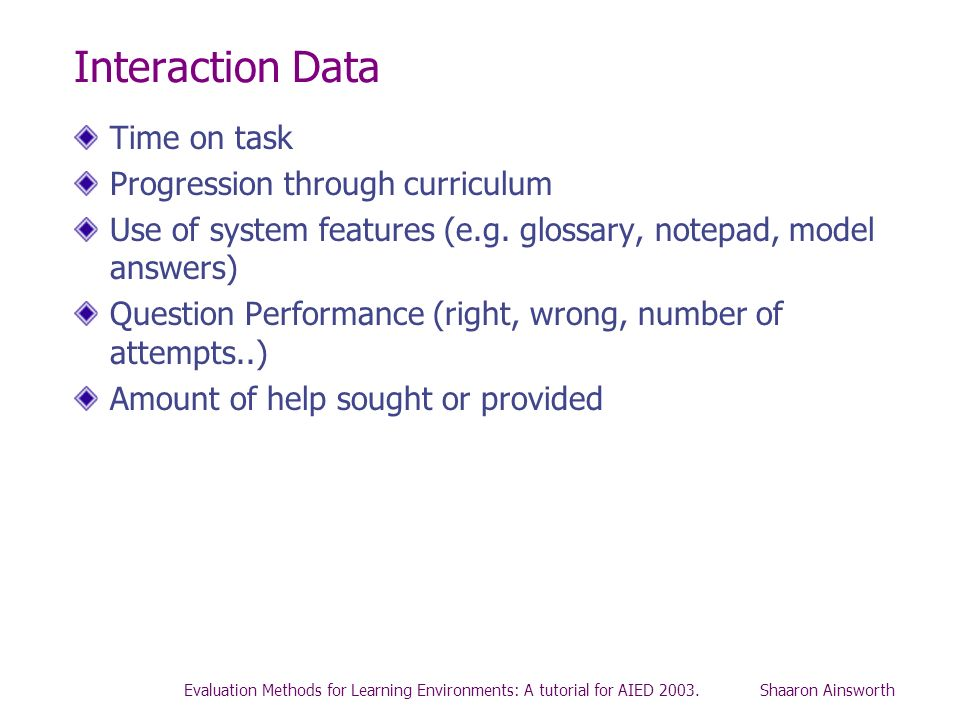 Interaction Data Time on task Progression through curriculum