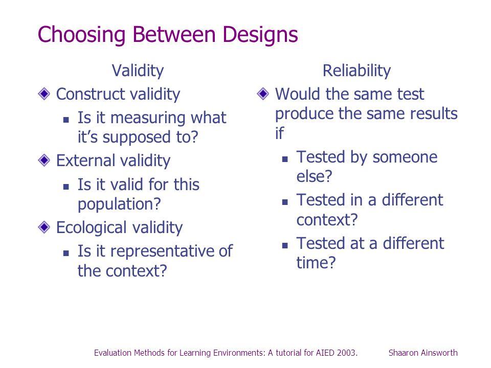 Choosing Between Designs