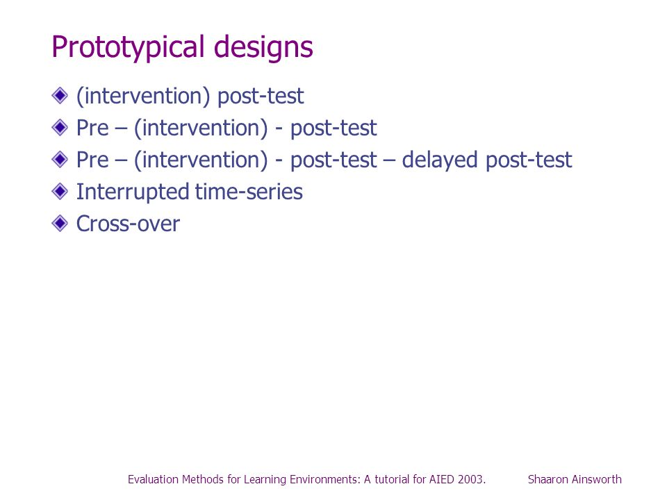 Prototypical designs (intervention) post-test
