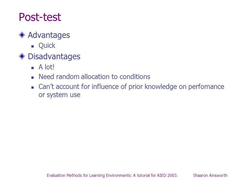Post-test Advantages Disadvantages Quick A lot!