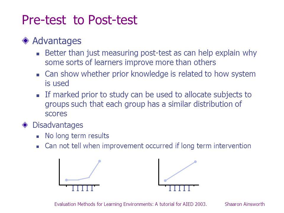Pre-test to Post-test Advantages