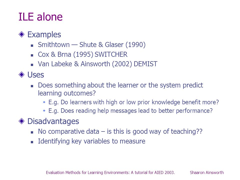 ILE alone Examples Uses Disadvantages