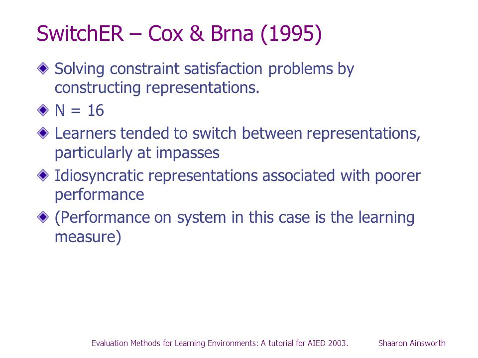 SwitchER – Cox & Brna (1995)Solving constraint satisfaction problems by constructing representations.