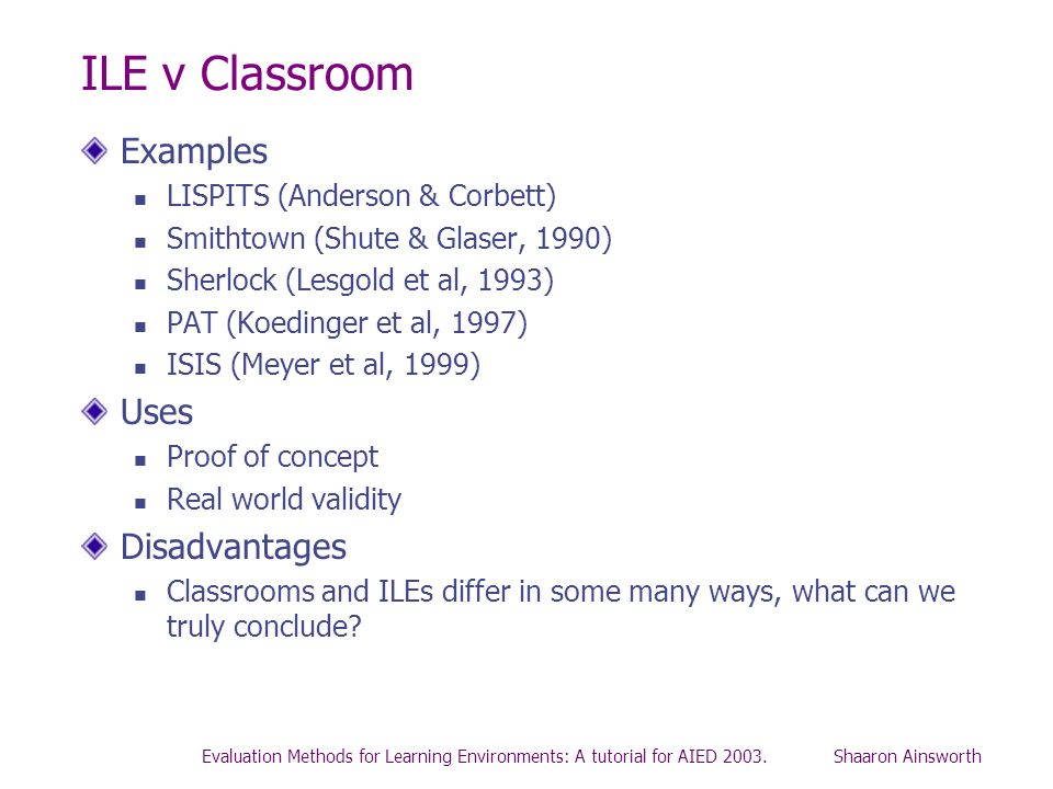 ILE v Classroom Examples Uses Disadvantages